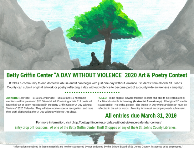 "Betty Griffin Center ""A Day Without Violence"" Art & Poetry Contest"