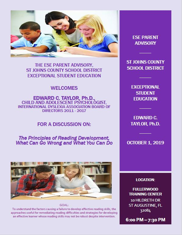 """The Principles of Reading Development"" on October 1st"