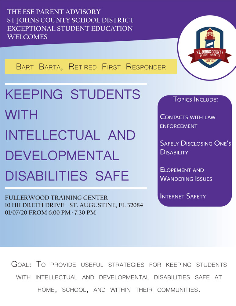"""Keeping Students with Intellectual and Developmental Disabilities Safe"" on Jan. 7th"