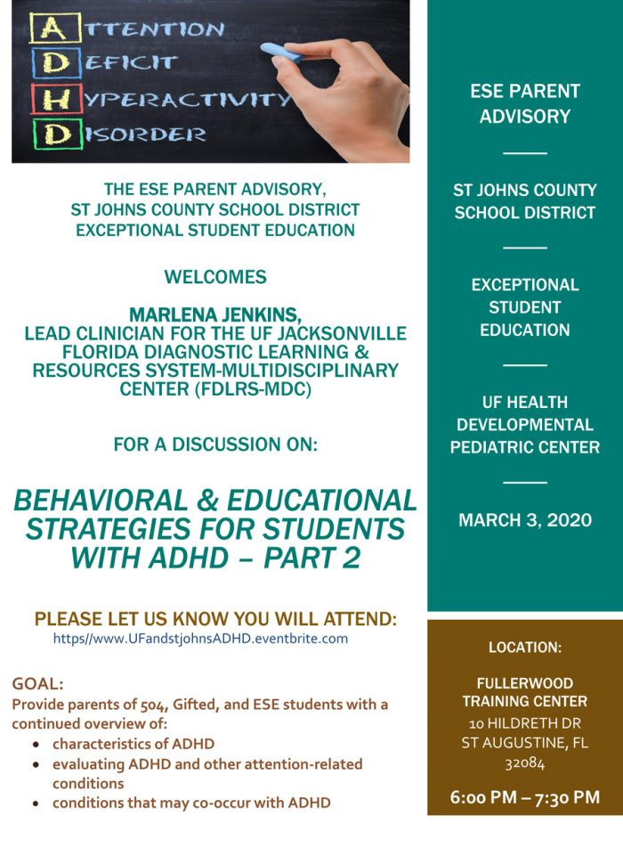 """Behavioral & Educational Strategies for Students with ADHD – Part 2"" on March 3rd"