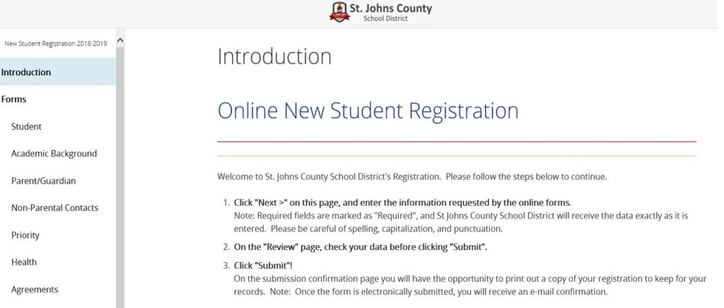 Online Registration Page Sample