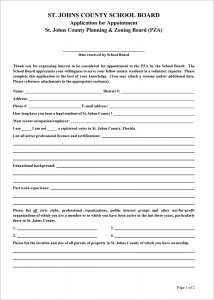 PZA Application for Appointment