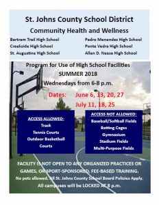 Summer 2018 Facility Use Flyer