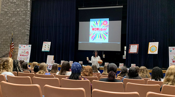 Donna Orender speaks to students at Pedro Menendez High School